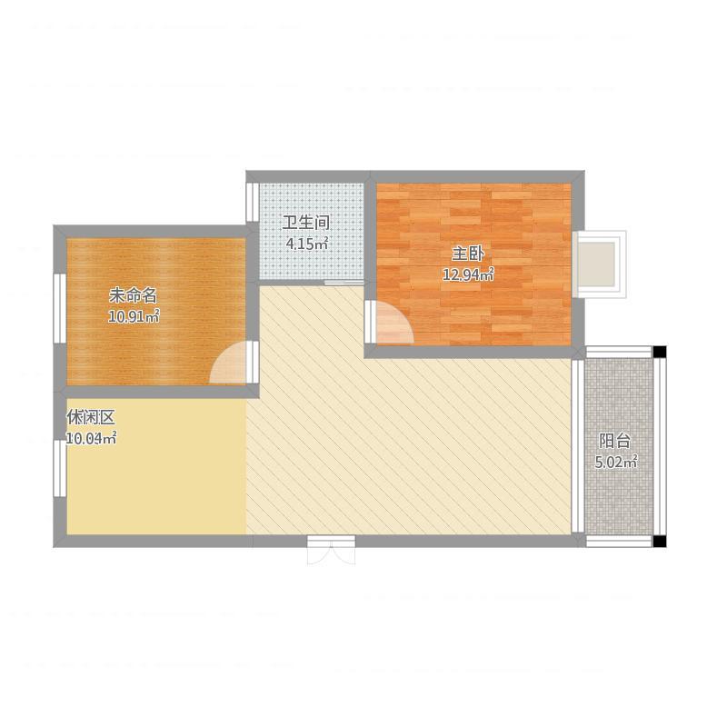 6m两室一厅户型1室1厅1卫1厨98.00㎡户型图
