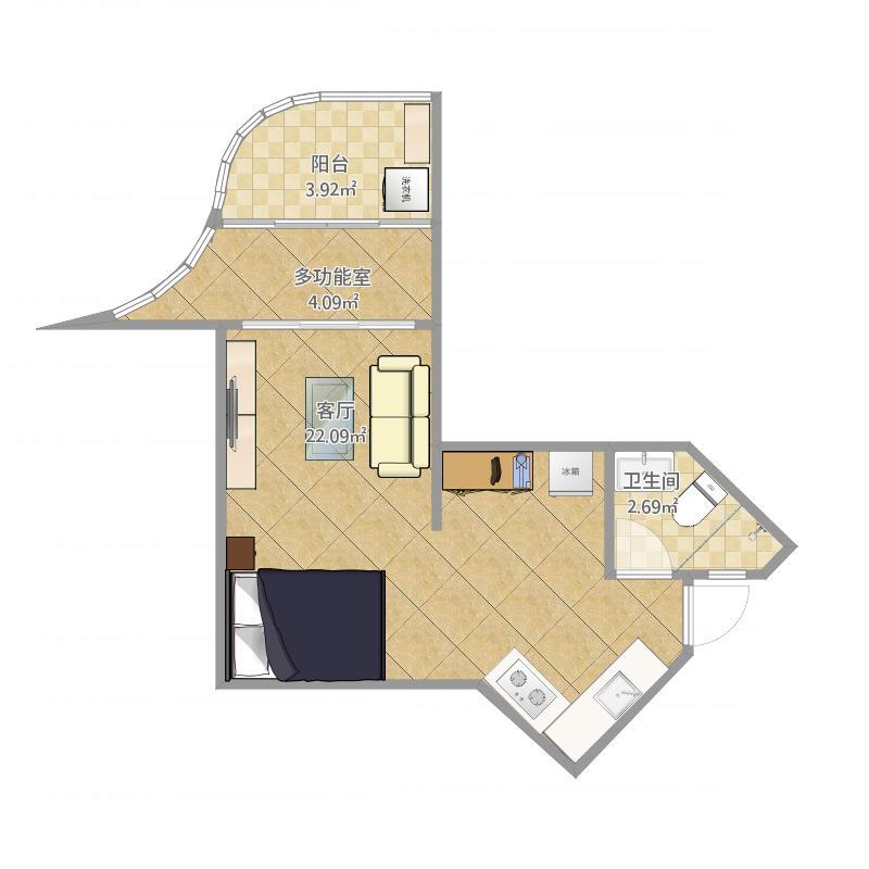世茂怒放海0室1厅1卫0厨45.00㎡户型图
