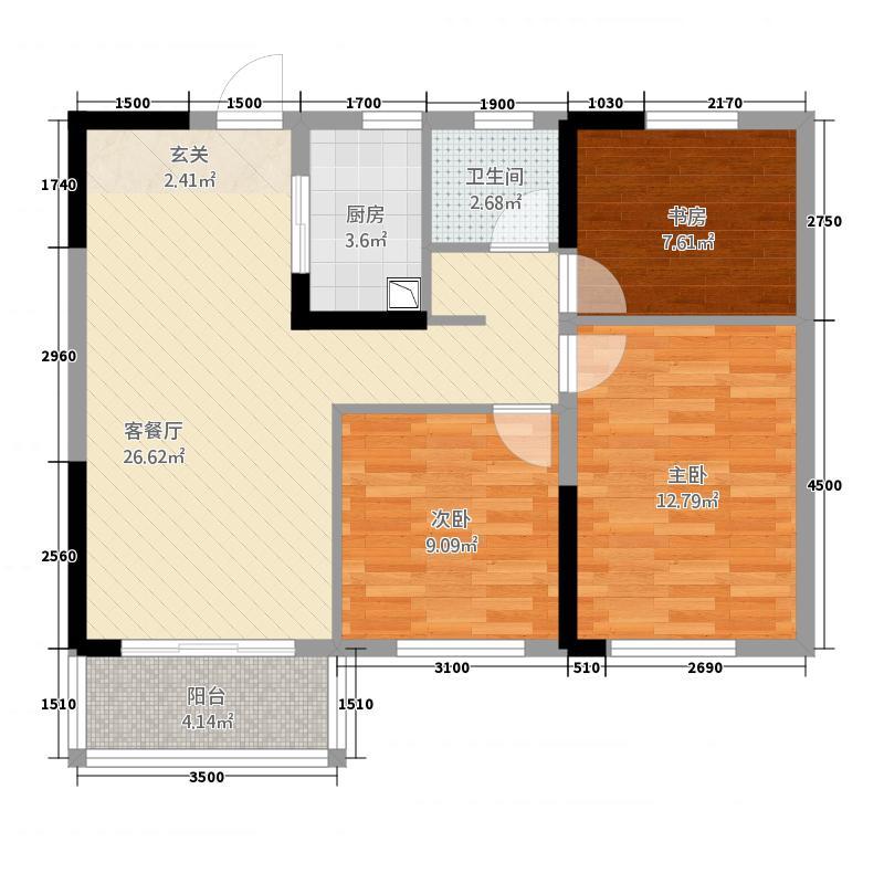 俊发城3室1厅1卫1厨96.00㎡户型图