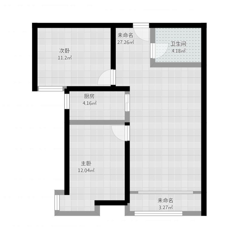 紫城秦皇半岛2室0厅3卫1厨88.00㎡户型图