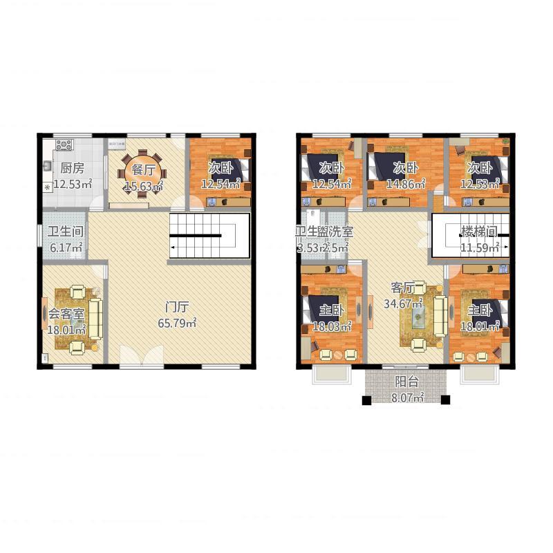 农村自建房6室4厅2卫1厨361.00㎡户型图户型图大全,图