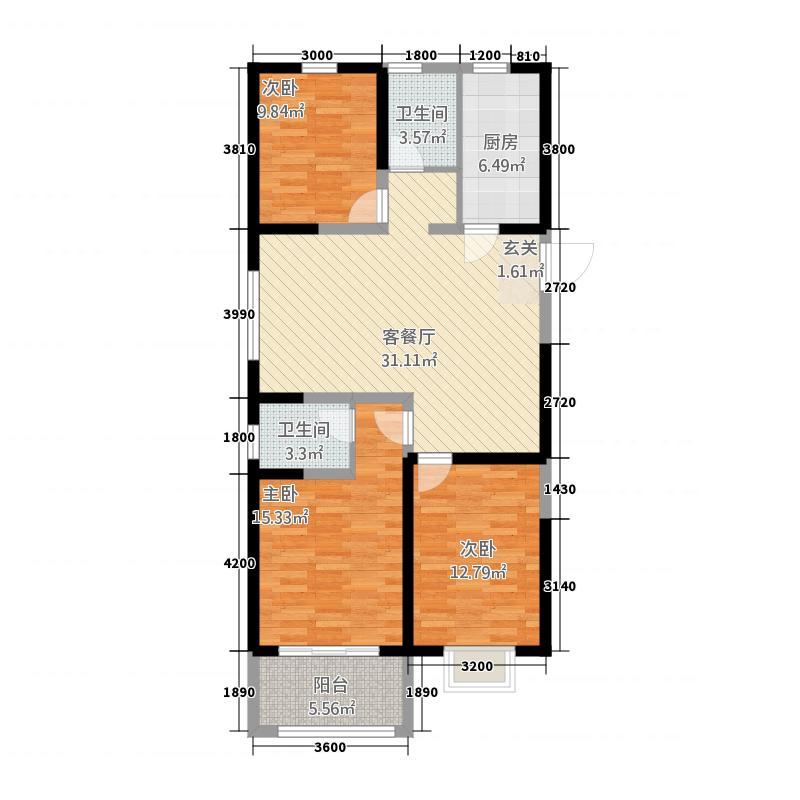 禹城市金辰国际花园3室1厅2卫1厨126.00㎡户型图
