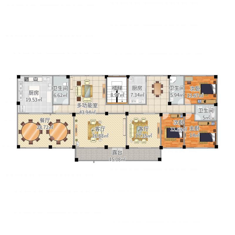 农村一梯两户设计图3室3厅3卫2厨303.00㎡户型图