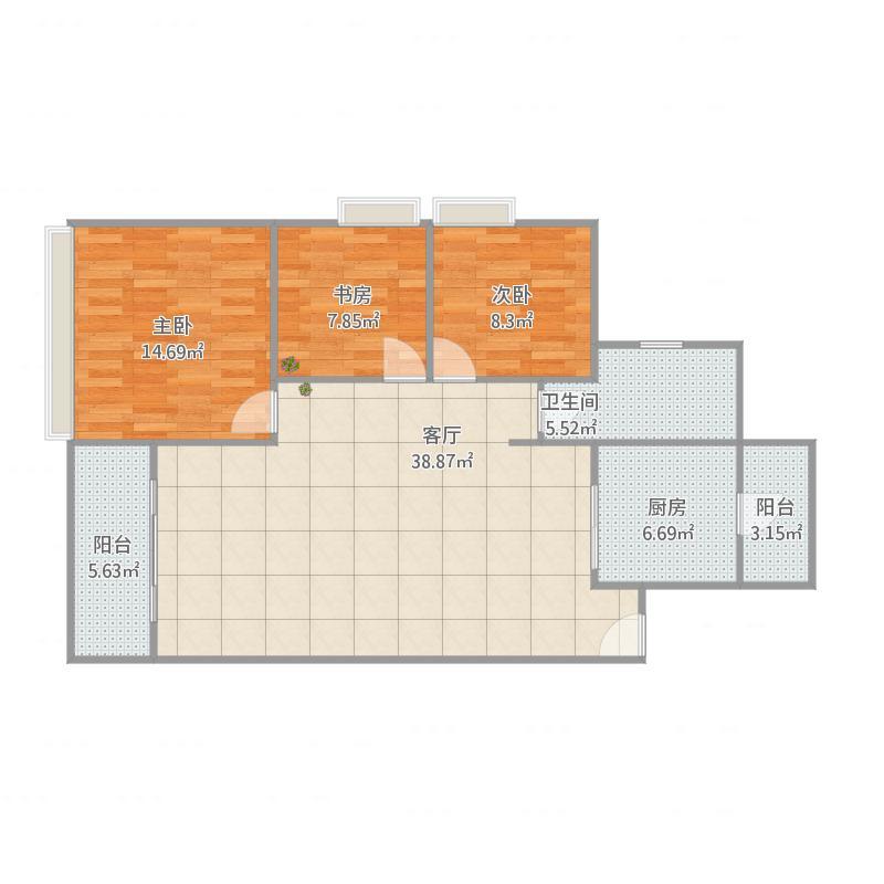 嘉都汇3室1厅1卫1厨122.00㎡户型图图片