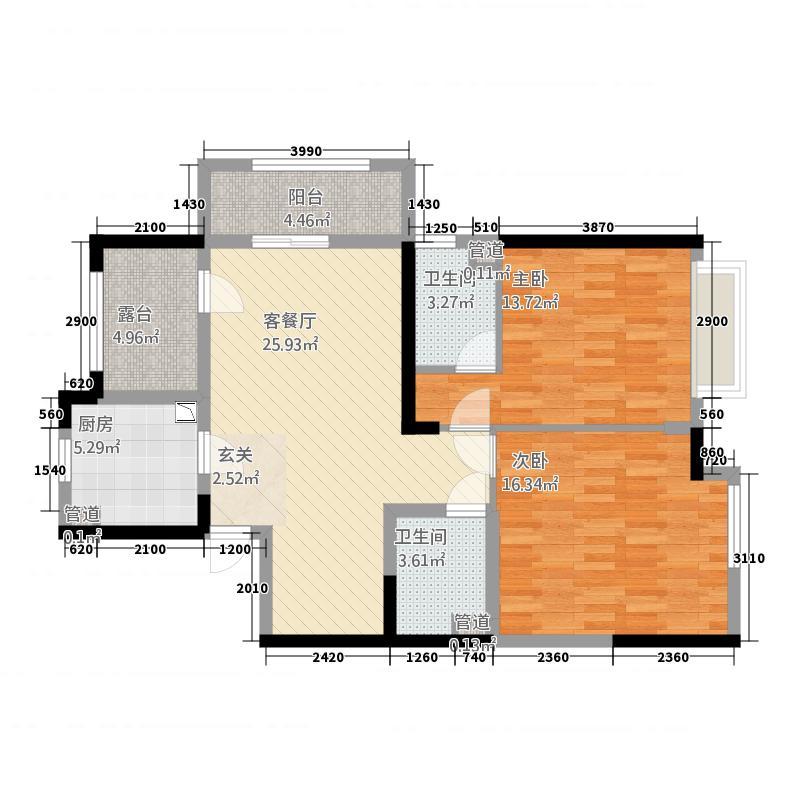中国户型大全 南通 世茂公元 2室2厅2卫1厨 100-130㎡  户型图报错