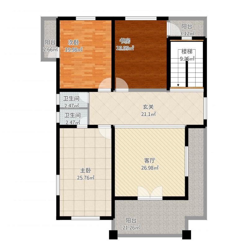 农村自建房一层3室1厅2卫0厨219.00㎡户型图