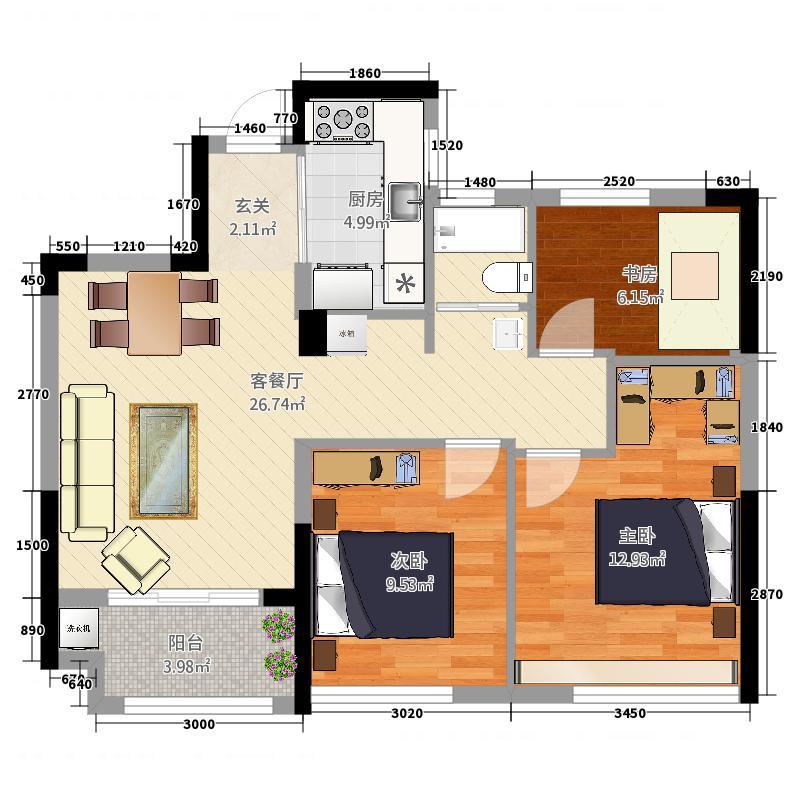 保亿风景晨园3室2厅0卫1厨88.00㎡户型图