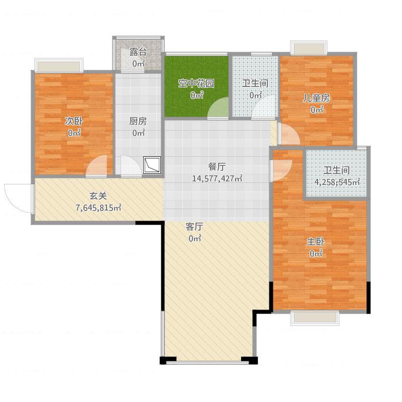 兴润秋雨台3室1厅3卫1厨114.00㎡户型图