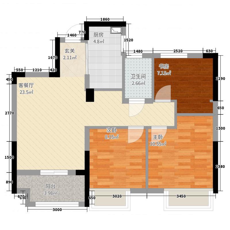 保亿风景晨园3室2厅1卫1厨88.00㎡户型图