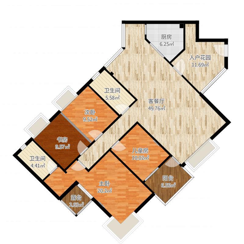 蔚蓝半岛4室2厅2卫1厨170.00㎡户型图
