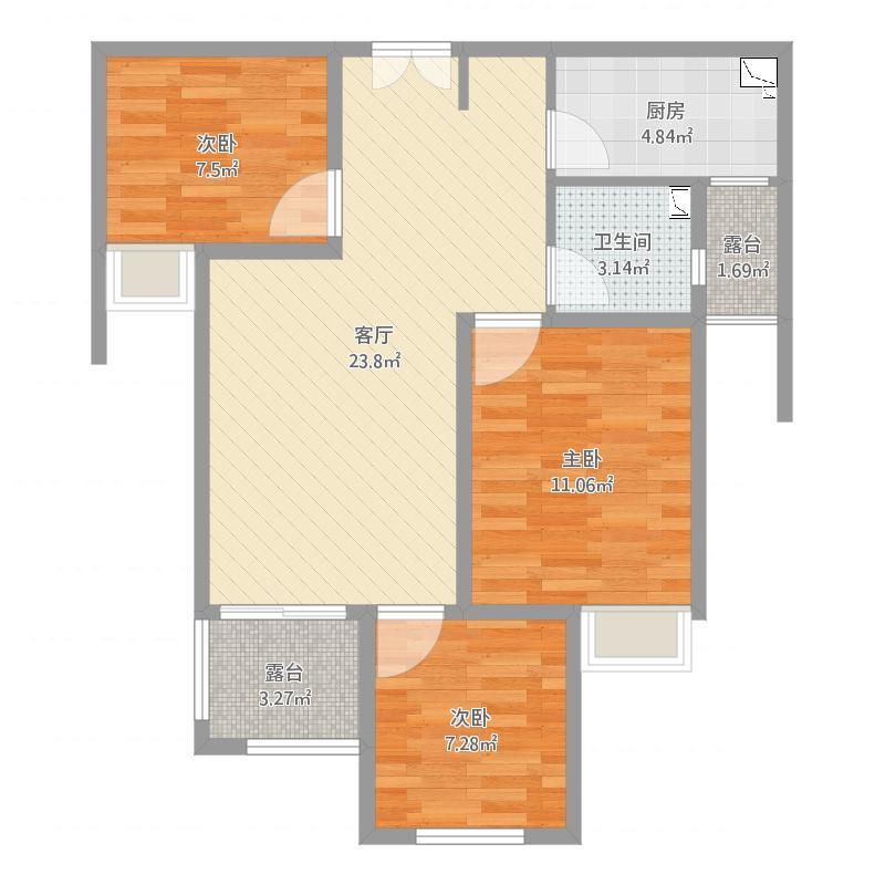 谦祥万和城3室1厅1卫1厨78.00�O户型图