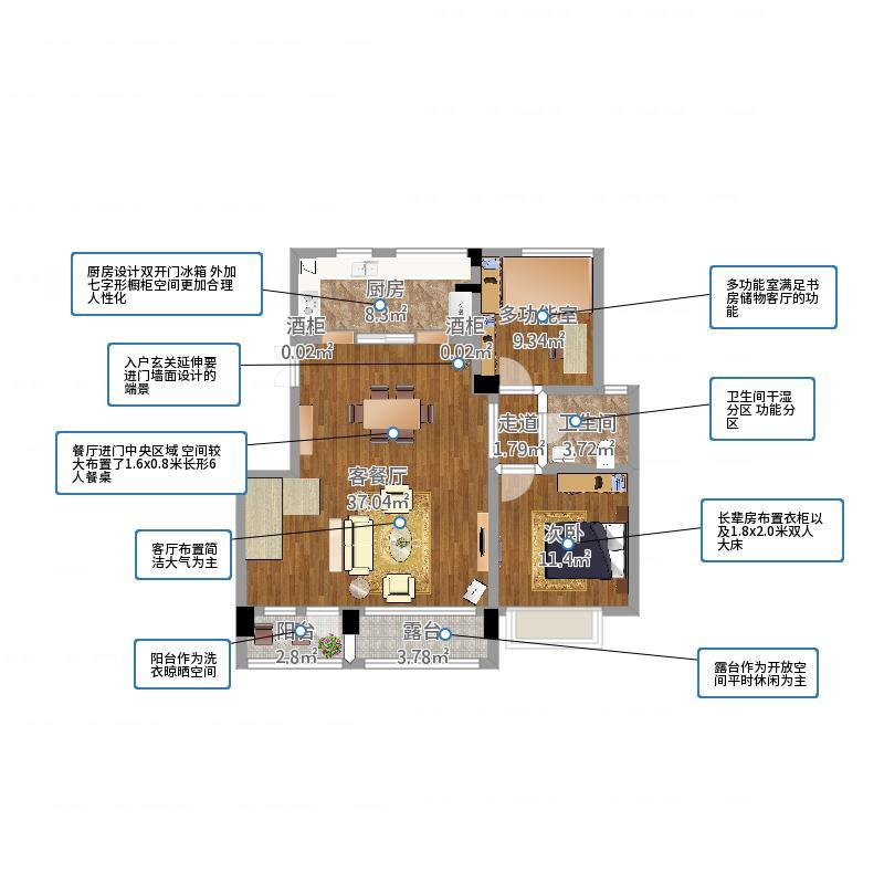 邵女士小美风格复式楼设计1室2厅3卫2厨98.00㎡户型图图片