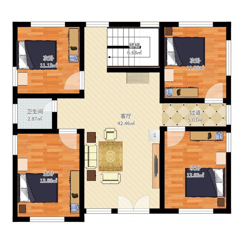 农村建房4室1厅1卫0厨150.00㎡户型图