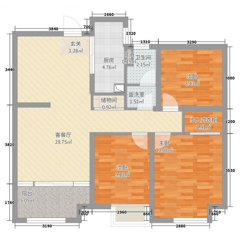 如皋中南世纪城3室4厅1卫1厨112.00㎡户型图