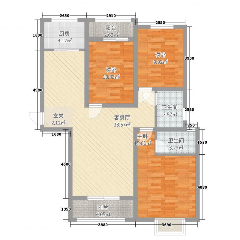 远洋新天地3室2厅2卫1厨125.00户型图设计师叶海兵图片