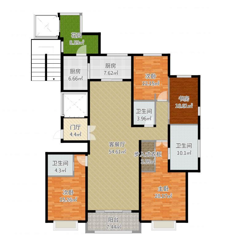 中国户型大全 合肥 绿地内森庄园 4室2厅3卫2厨 130㎡及以上  户型图