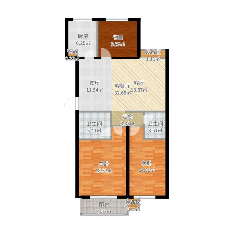 中国户型大全 菏泽 圣泽中华世纪城 3室2厅2卫1厨 100-130㎡  户型图