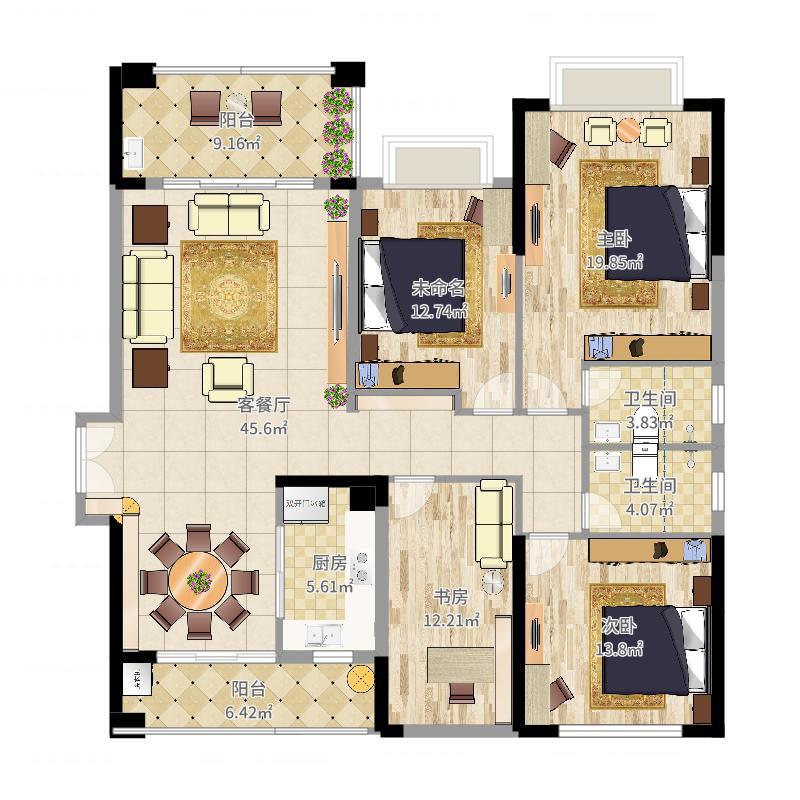 中国户型大全 惠州 龙光水悦龙湾 3室2厅2卫1厨 130㎡及以上  户型图