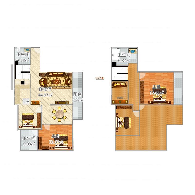 广田泰丰花园跃层2室2厅3卫0厨213.00㎡户型图