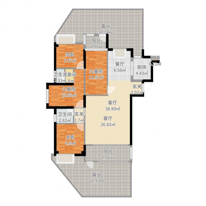 悦泰春天4室1厅3卫1厨197.00㎡户型图