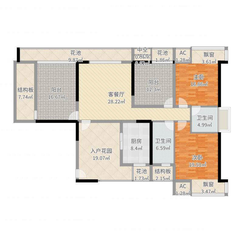 佳兆业丽晶港2室2厅2卫1厨200.00㎡户型图