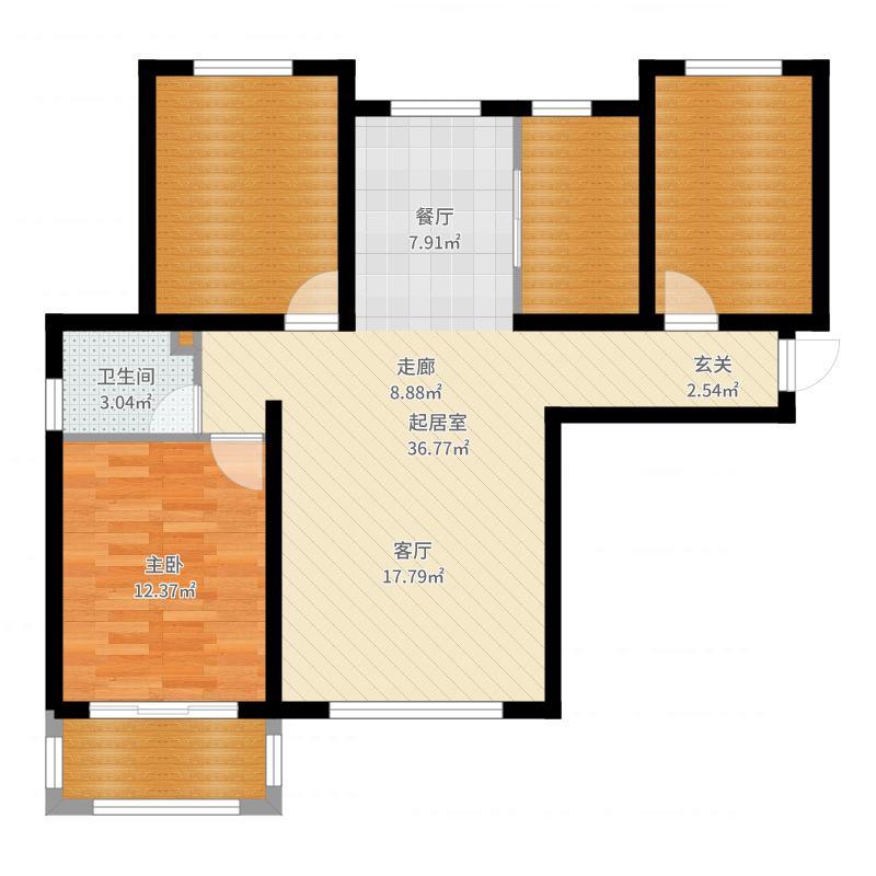 紫城秦皇半岛1室0厅1卫0厨101.00㎡户型图