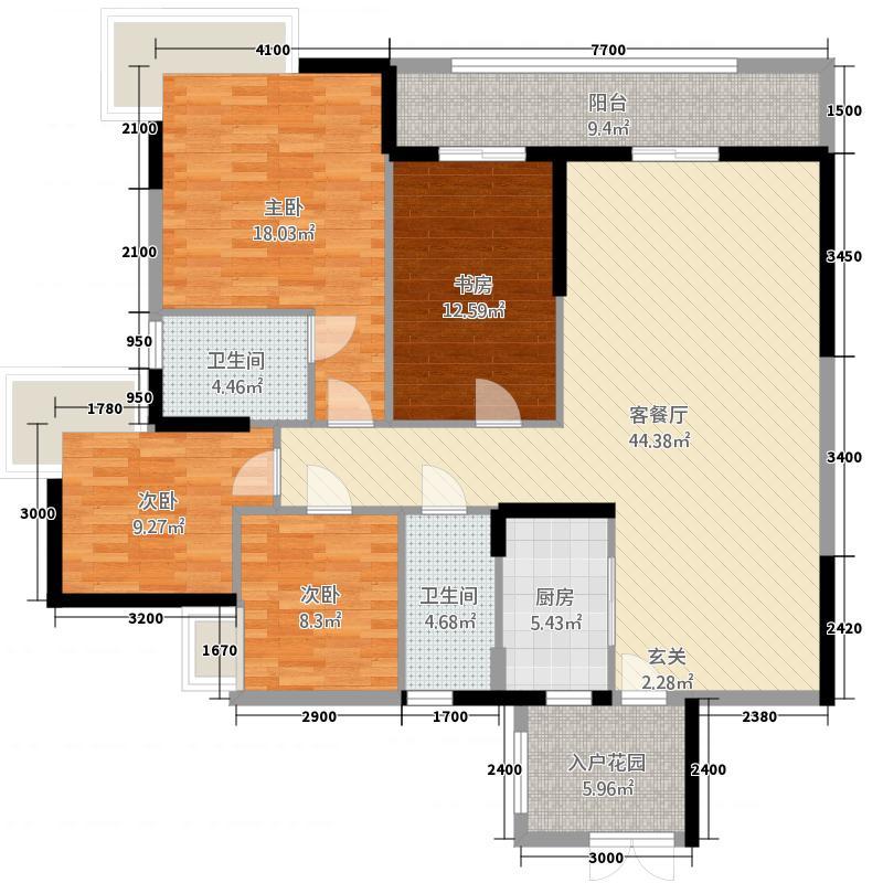 均安尚苑_顺德均安尚苑4室2厅2卫1厨139.00㎡户型图