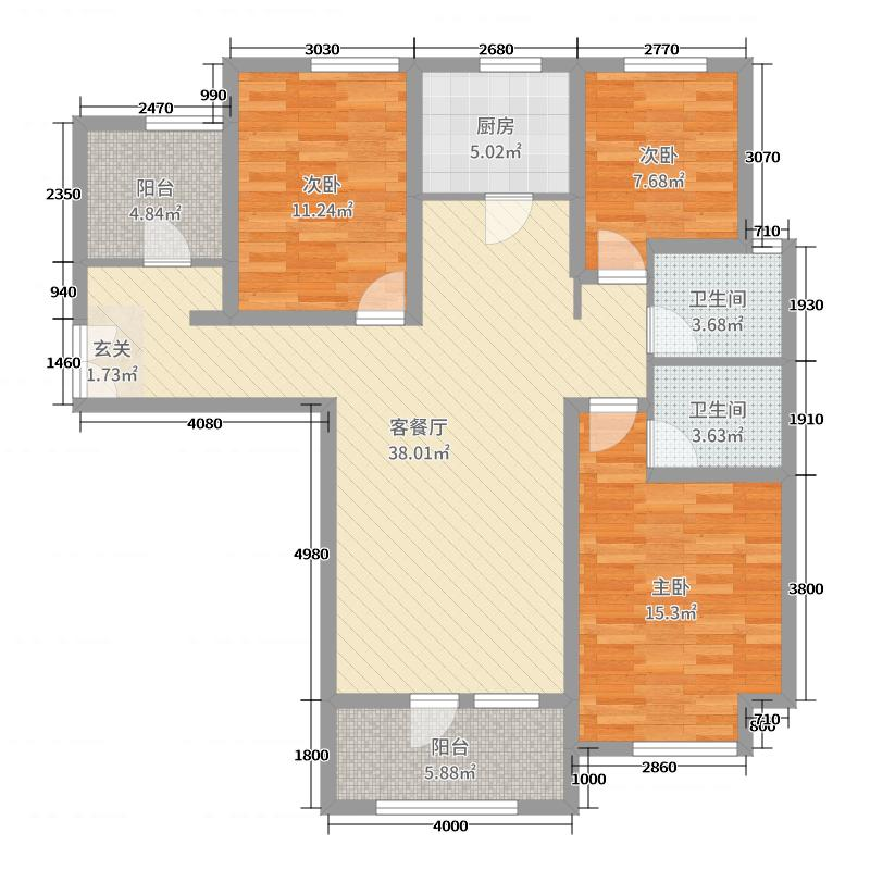 中铁秦皇半岛3室2厅2卫1厨128.00㎡户型图