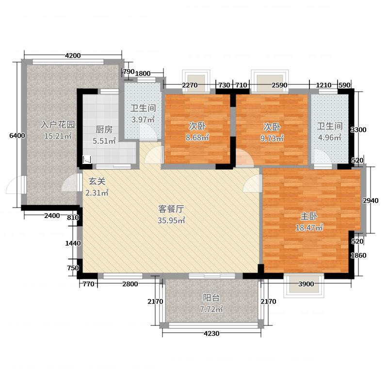 中国户型大全 深圳 名苑星河湾三期 3室2厅2卫1厨 130㎡及以上  户型