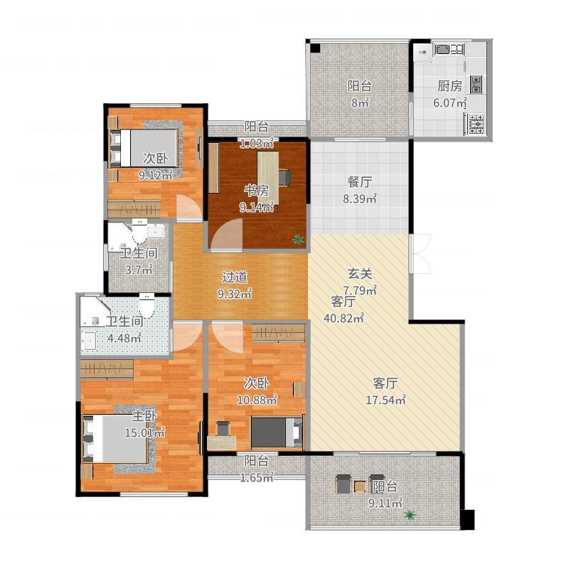 圆方欧洲城4室1厅2卫1厨149.00㎡户型图