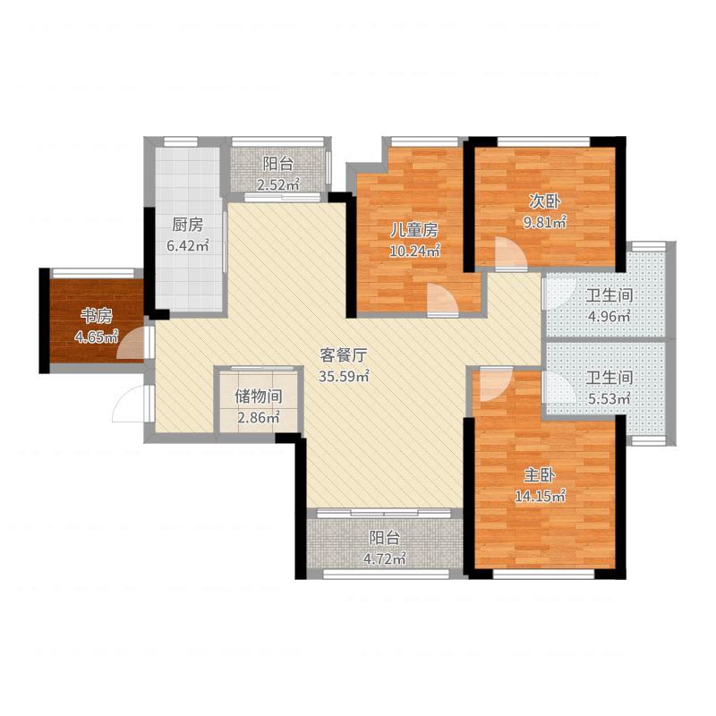 幸福里4室2厅2卫1厨127.00㎡户型图