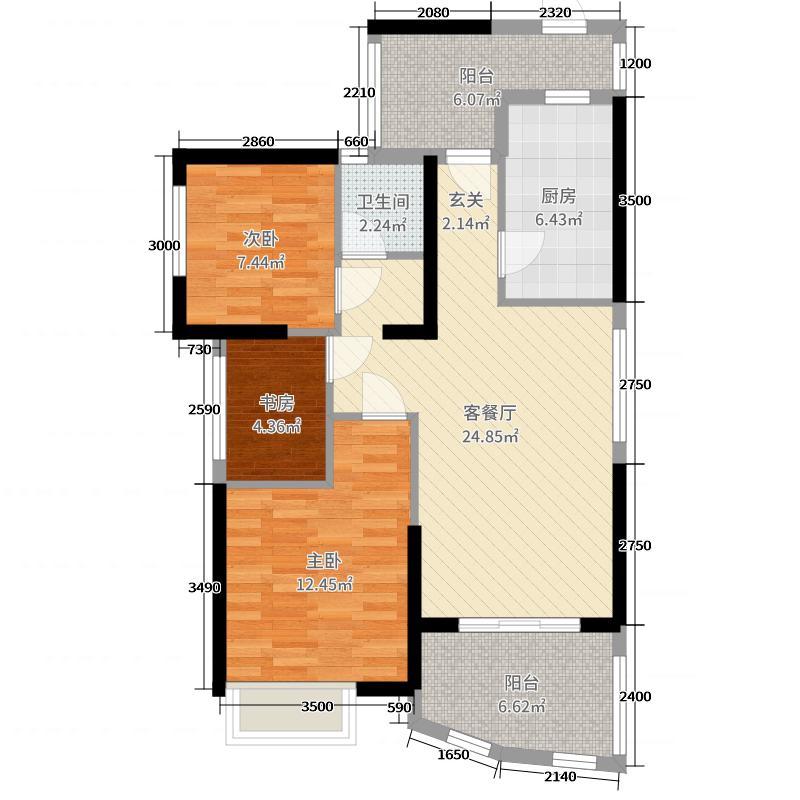 中国户型大全 武汉 武汉国博新城碧园居 3室2厅1卫1厨 80-100㎡  户型