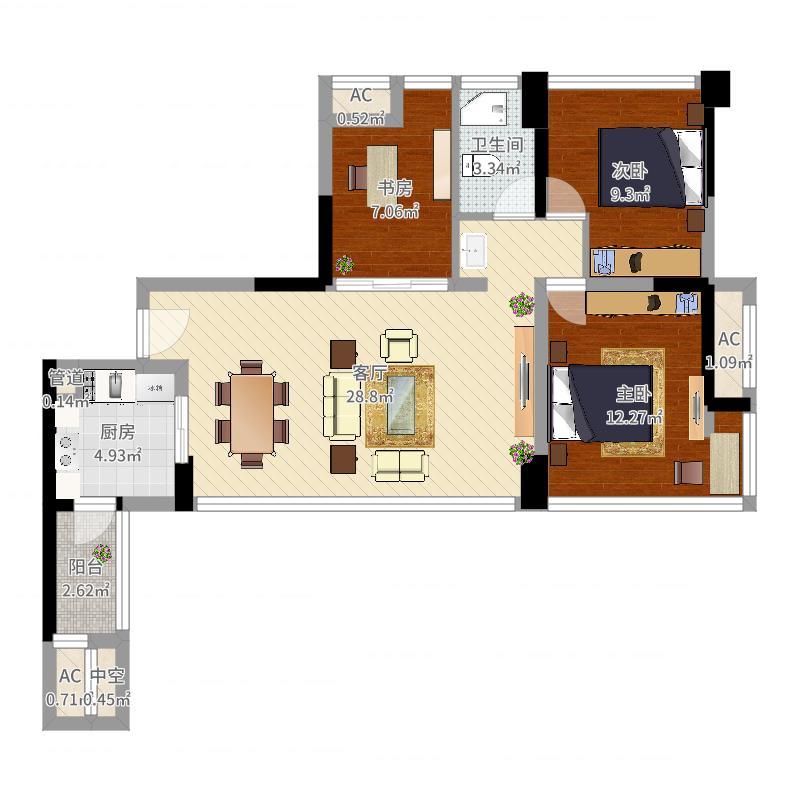 中粮鸿云3室1厅1卫1厨89.00�O户型图