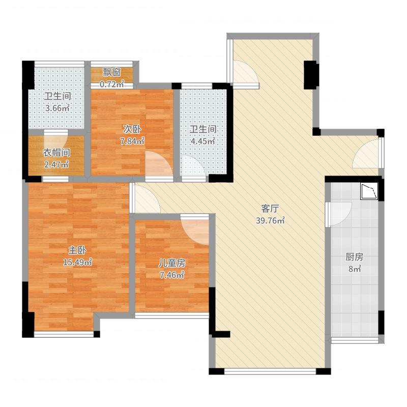 中国户型大全 内江 凤凰城104户型 3室1厅2卫1厨 100-130㎡  户型图报