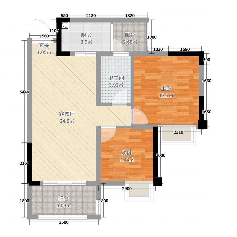 复地御香山3悦2室2厅1卫1厨74.00㎡户型图户型图大全