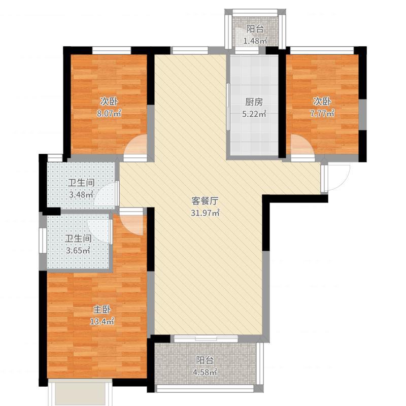 红星国际生活广场3室2厅2卫1厨100.00㎡户型图