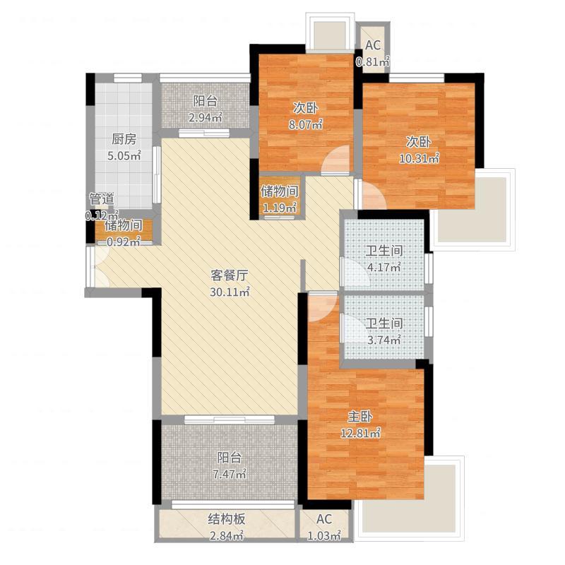 中国户型大全 南通 苏建学府雅居 3室2厅2卫1厨 100-130㎡  户型图报
