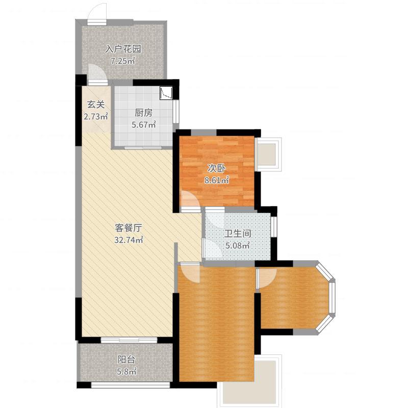 中国户型大全 成都 洛森堡新殿 1室2厅1卫1厨 100-130㎡  户型图报错