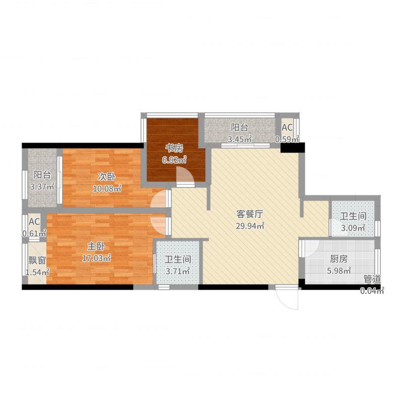 高铁新城圆融广场3室2厅2卫1厨106.00㎡户型图