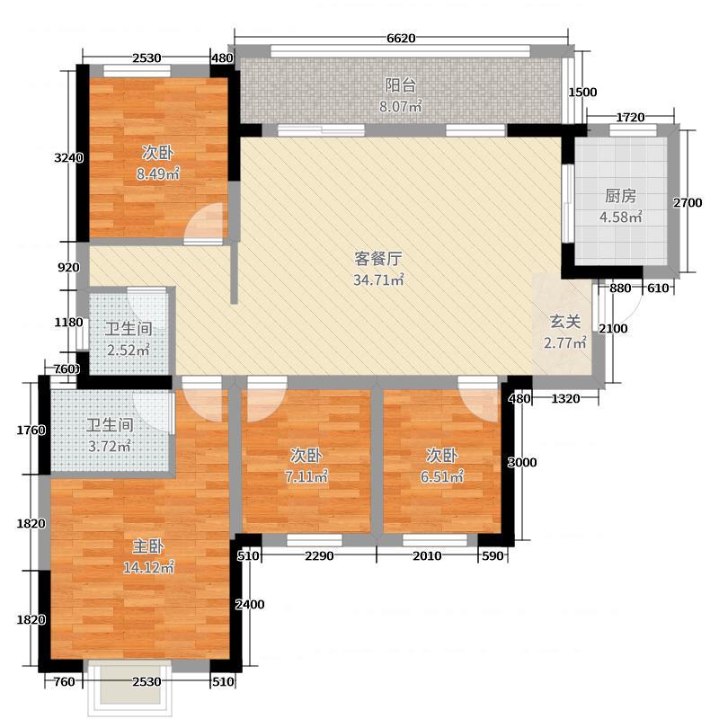 中粮鸿云4室2厅2卫1厨112.00�O户型图