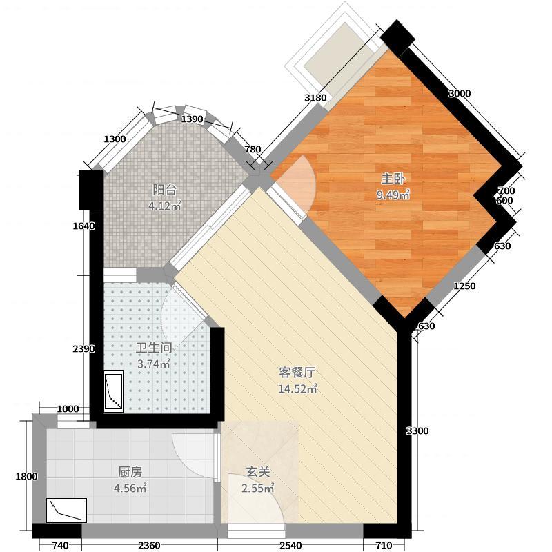 如东碧桂园1室2厅1卫1厨52.00㎡户型图
