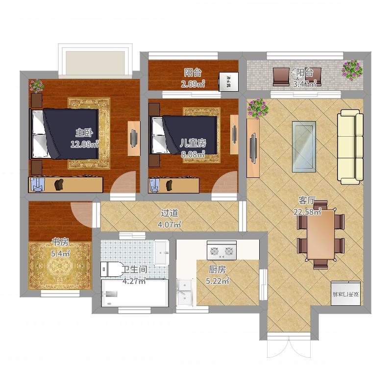 如皋文峰城市广场3室1厅1卫1厨85.00㎡户型图