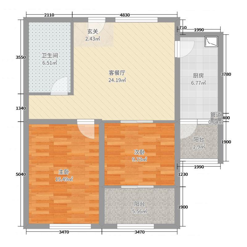中国户型大全 青岛 中泰信上景 2室2厅1卫1厨 80-100㎡  户型图报错