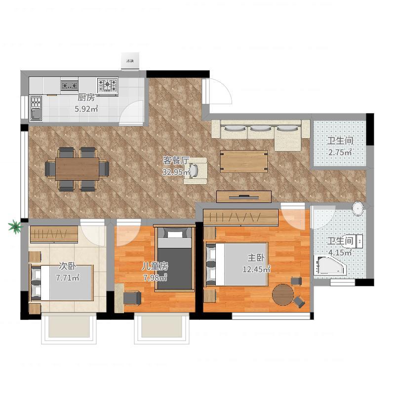 郏县常绿林溪谷3室2厅2卫1厨92.00㎡户型图图片