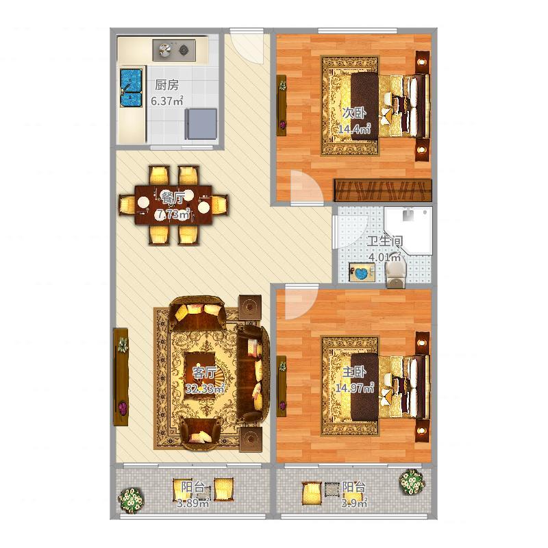 城市风景2室1厅1卫1厨100.00㎡户型图