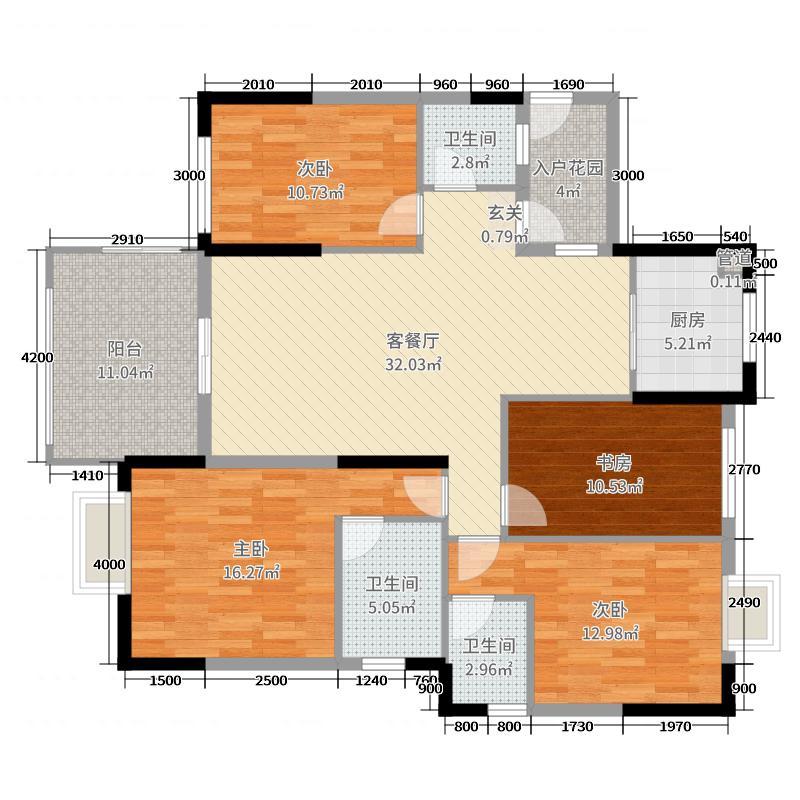 尚城雅苑4室2厅3卫1厨135.00㎡户型图