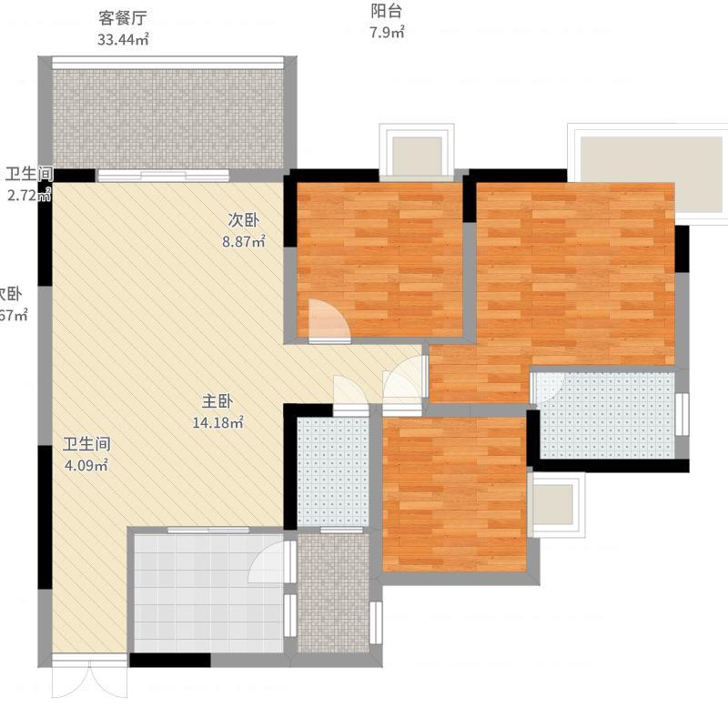 天邻风景3室2厅2卫1厨110.00㎡户型图