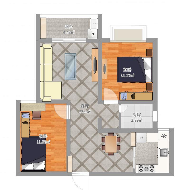 63平方2房1厅设计图