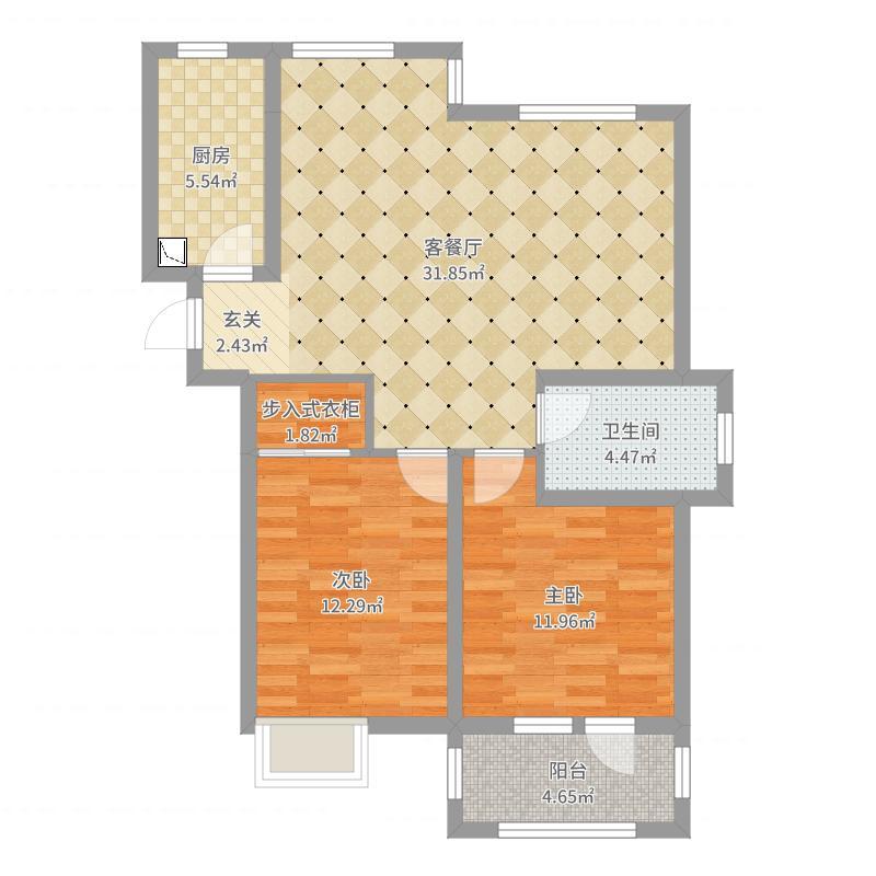 伟东幸福之城湖山美地2室2厅1卫1厨91.00㎡户型图