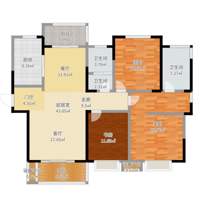 郑州建业春天里0033室0厅3卫1厨157.00㎡户型图